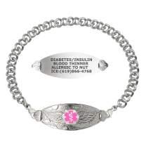 Divoti Custom Engraved Medical Alert Bracelets for Women, Stainless Steel Medical Bracelet, Medical ID Bracelet w/Free Engraving – Angel Wing Tag w/Knot Links – Color/Size