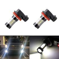 H8 H16 H11 Fog Light Bulbs LED 80W Ultra Extremely Bright CREE 6000K 16 SMD White Xenon Fog Spot Lights Bulbs Lamps (Pack of 2)