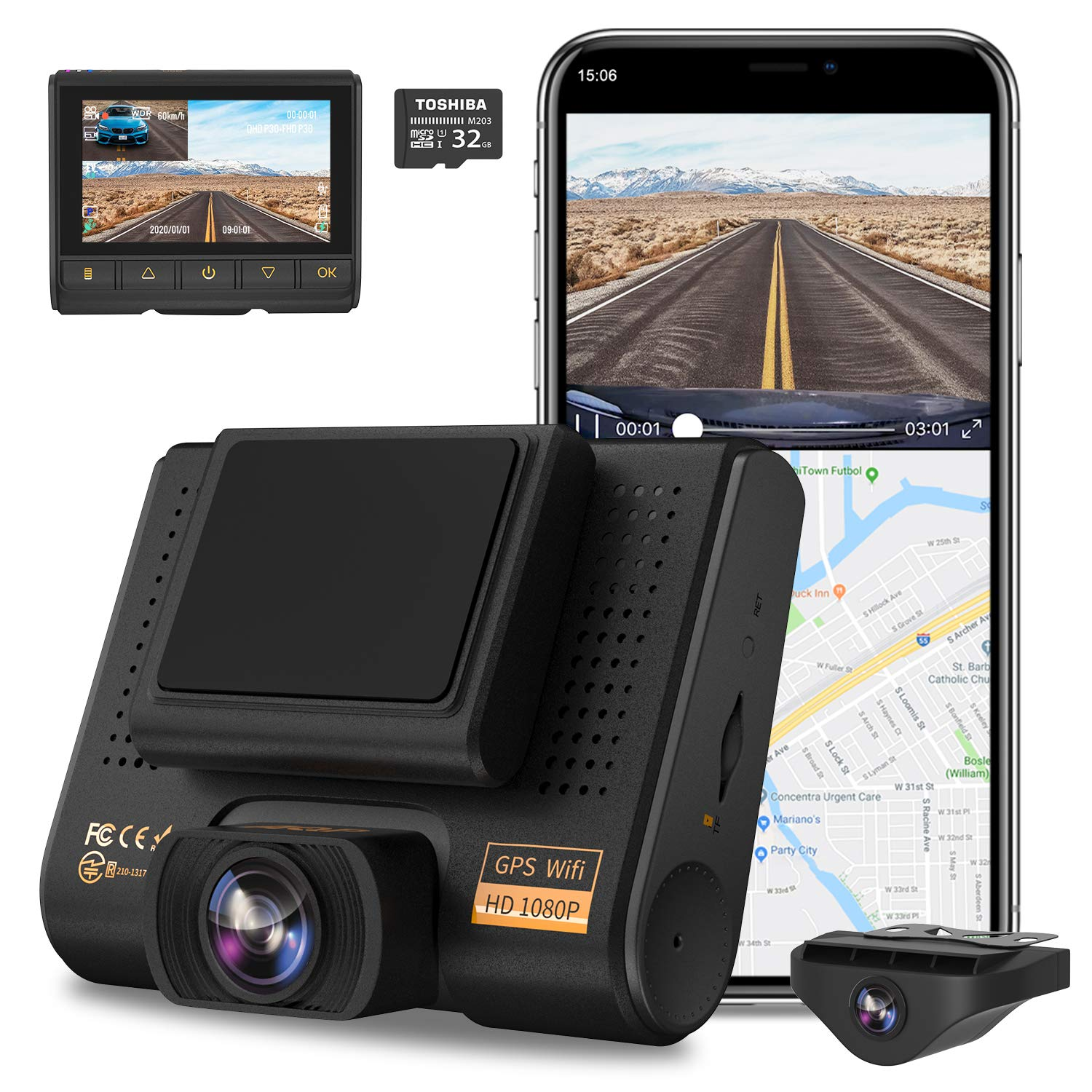 Dual Dash Cam, AQP Full HD 1080P Car Camera Front and Rear for Cars, Dashboard Camera Recorder with GPS & WiFi, Sony Sensor, 170°/ 150°Wide Angle, 3 inch IPS Screen, G-Sensor, WDR, Cycle Recording