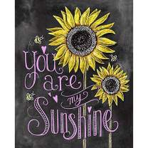 Diamond Painting Kits for Adults Kids, 5D DIY Sunflower Blackboard Painting Diamond Art Accessories with Round Full Drill for Home Wall Decor - 11.8×15.7Inches