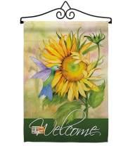 "Breeze Decor GS104095-P3-02 Sunflower with Hummingbird Spring Floral Impressions Decorative Vertical 13"" x 18.5"" Garden Flag Set Metal Wall Hanger Hardware"