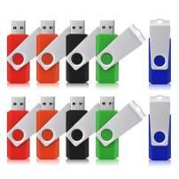JUANWE 10 Pack 2GB USB Flash Drive USB 2.0 Thumb Drives Jump Drive Fold Storage Memory Stick Swivel Design - Black/Blue/Green/Orange/Red(2GB,5 Mixed Color)