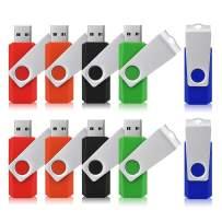 JUANWE 10 Pack 4GB USB Flash Drive USB 2.0 Thumb Drives Jump Drive Fold Storage Memory Stick Swivel Design - Black/Blue/Green/Orange/Red (4GB, 5 Mixed Color)