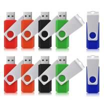JUANWE 10 Pack 16GB USB Flash Drive USB 2.0 Swivel Thumb Drive Jump Drive Memory Stick Pen Drive - Black/Red/Blue/Green/Orange (16GB, 5 Mixed Color)