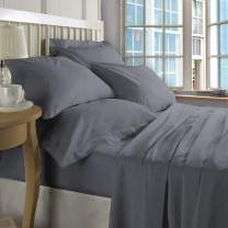 ZECOTT 100% Cotton Sheet Set Twin-Frost Grey Sheet Sets Twin Size-400 Thread Count Sheets Twin-Long Staple Cotton Twin Sheets-Sateen Sheets Twin Size-Silky Soft Sheets-Deep Pocket Twin Fitted Sheet