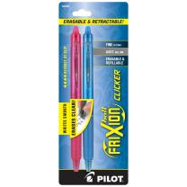 PILOT FriXion Clicker Erasable, Refillable & Retractable Gel Ink Pens, Fine Point, Assorted Color Inks, 2-Pack (31483)