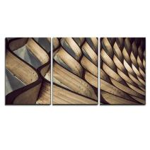 """wall26 - 3 Piece Canvas Wall Art - Abstract Bent Wood Patterns - Modern Home Decor Stretched and Framed Ready to Hang - 16""""x24""""x3 Panels"""