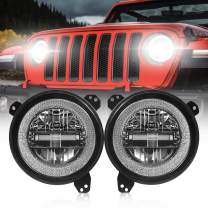 9 Inch Led Headlights [DOT Approved] Jeep Round Headlight with DRL High Beam and Low Beam for 2018-2020 Jeep Wrangler JL [Diamond Design]