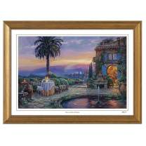 Cao Yong Print Artwork - Licensed Copy of CAO Youg Masterpiece - Villa Encantada - Decorative Painting with Solid Wood Frame, Wall Art Decor Poster for Home and Office