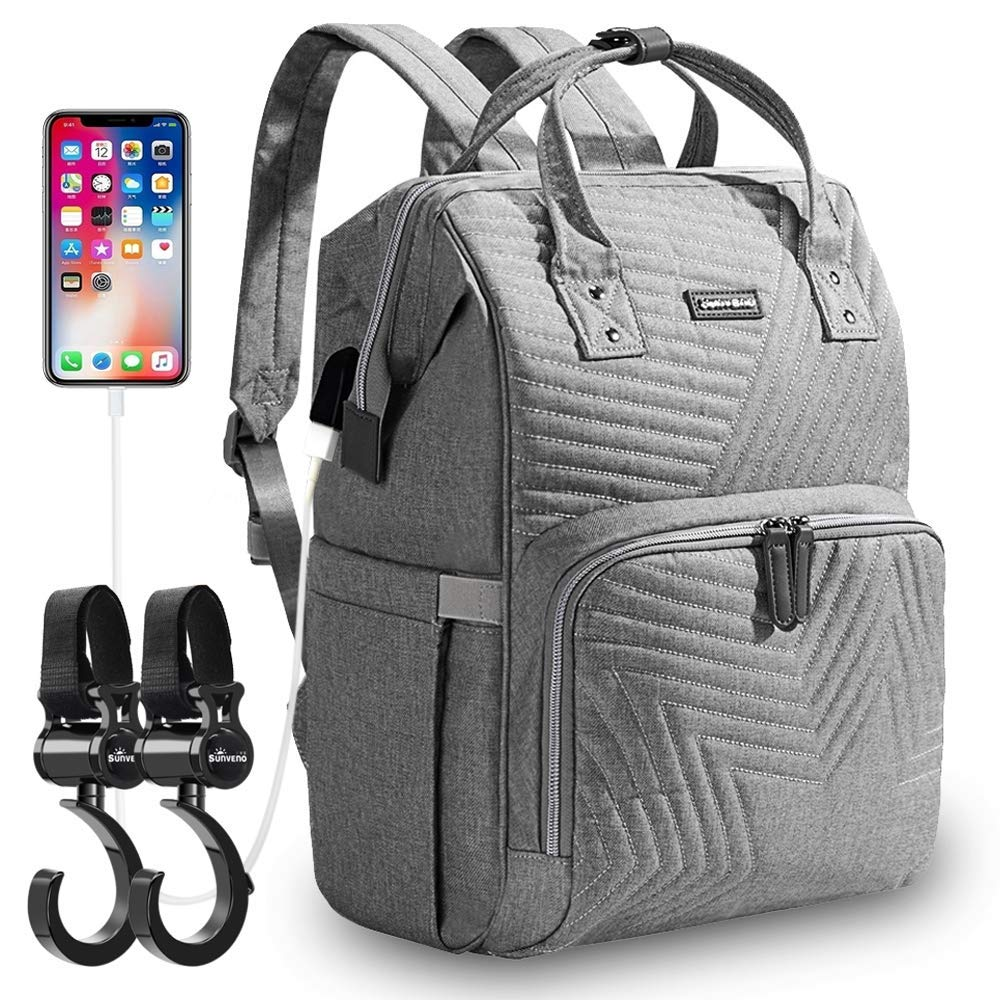 SUNVENO Baby Diaper Bag Backpack–Infant,Maternity Travel Bags–Large Nappy,Tote for Child Supplies,Bottles, Diapers,Wipes–Side Pockets,Zippered Close–Adjustable Straps (Grey)…