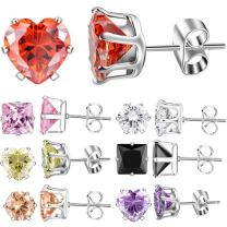 XZP Multicolored Zirconia Stud Earrings for Women Jewelry Gift,Stainless Steel Pin,Week Use,Colorful Stud Earrings Set 7 Pairs 5-8mm