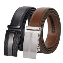 Men's Ratchet Leather Belt for Dress, Sliding Automatic Buckle Belt with Black Gift Box
