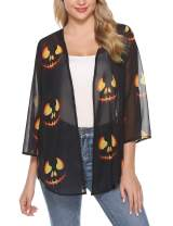 iClosam Women's Lightweight Chiffon Cover Up Sheer Kimono 3/4 Sleeve Cardigan