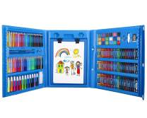 176 Pcs Art Set, Zooawa Girls Art Kit Sketching and Drawing Handle Art Box with Oil Pastels, Crayons, Colored Pencils, Markers, Paint Brush, Watercolor Cakes, Sketchpad for Kids and Toddlers, Blue