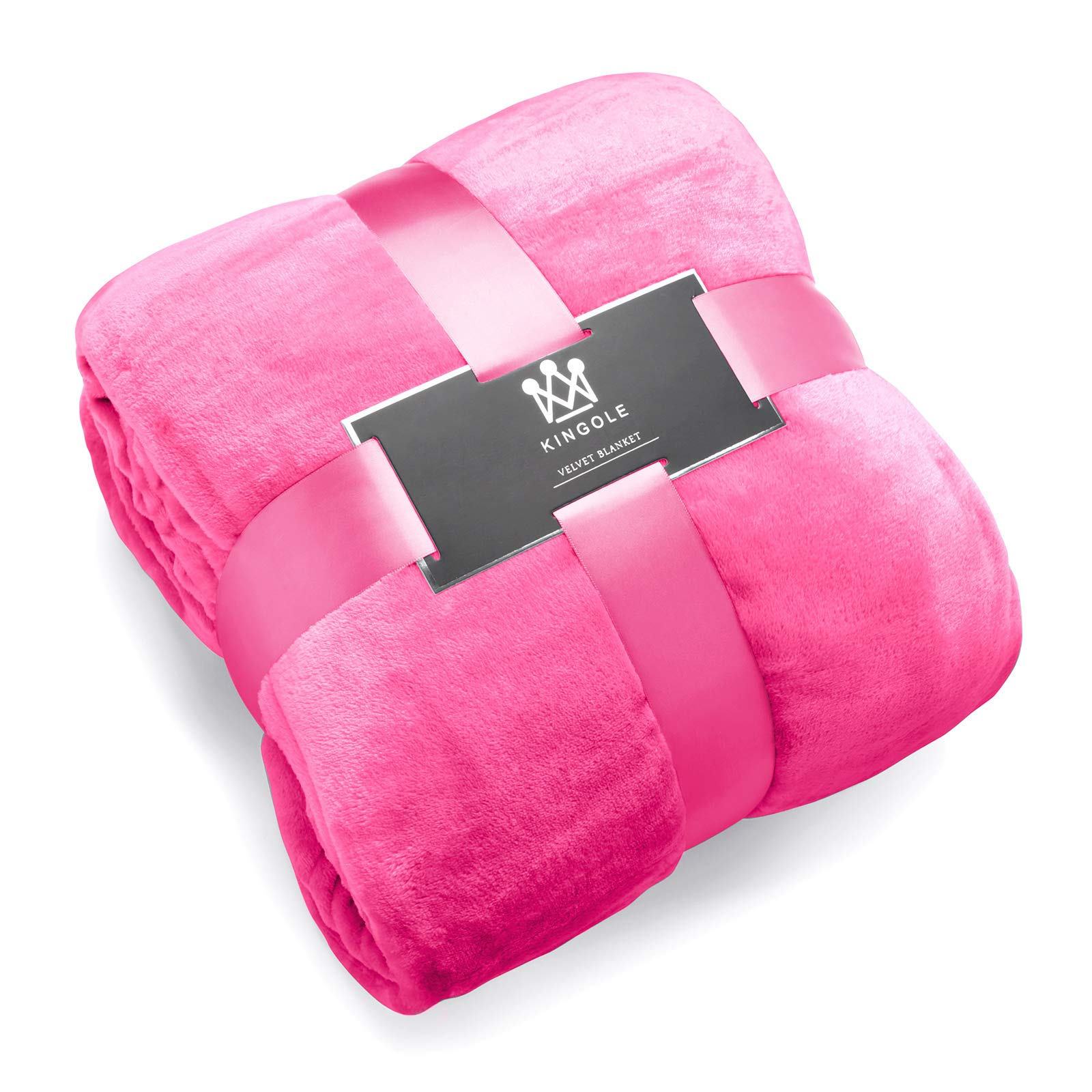 Kingole Flannel Fleece Microfiber Throw Blanket, Luxury Rose Pink King Size Lightweight Cozy Couch Bed Super Soft and Warm Plush Solid Color 350GSM (108 x 90 inches)