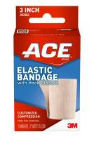 ACE 3 Inch Elastic Bandage with Hook Closure, Beige, Great for Elbow, Ankle, Knee and More, Ideal for Sports, Comfortable design with soft feel, Wash and Reuse, No Clips