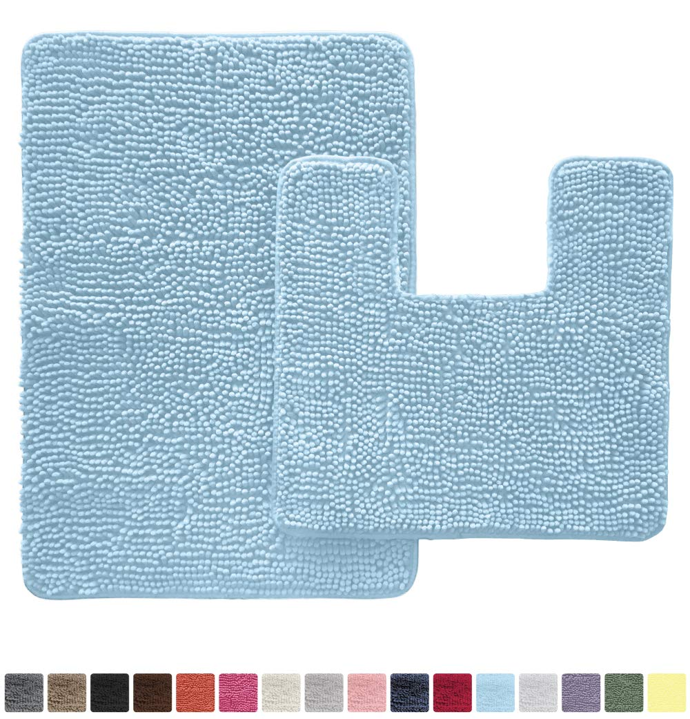 Gorilla Grip Original Shaggy Chenille 2 Piece Area Rug Set, Includes Square U-Shape Contoured Toilet Mat & 30x20 Bathroom Rugs, Machine Wash/Dry Mats, Plush Rugs for Tub Shower & Bath Room, Sky Blue