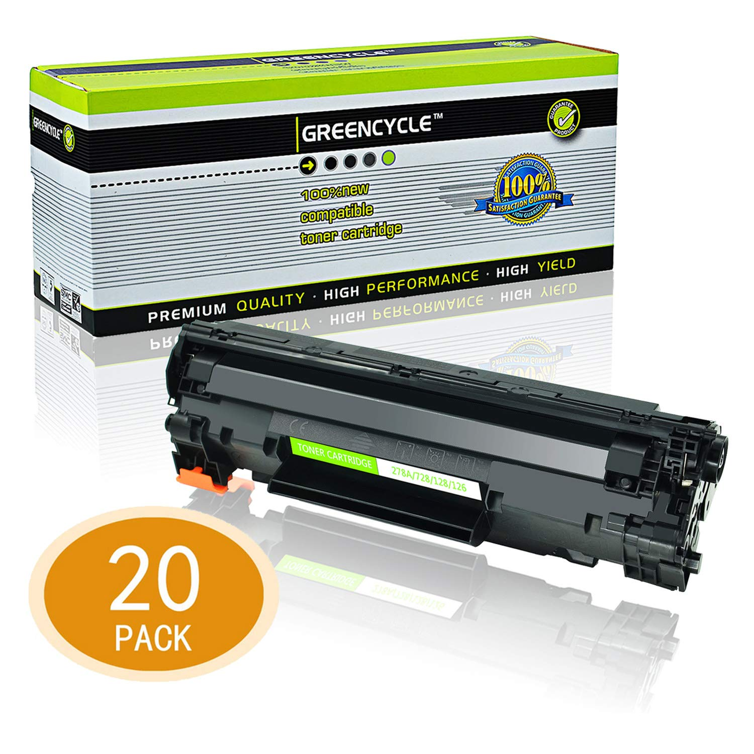 GREENCYCLE Toner Cartridge Replacement Compatible for Canon 126 CRG-126 CRG126 3483B001 use in ImageClass LBP6200d, and LBP6230dw Wireless Laser Printers (Black,20 PK)