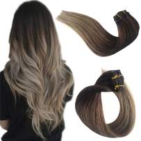 Hair Extensions Clip in Human Hair Clip on Real Remy Hair Extensions for Black/White Women Double Weft Ombre Medium Brown to Ash Brown Soft Silky Straight Glueless Natural 70g 7pcs 16 Clips 18 Inch