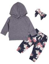 Newborn Infant Baby Girl Kids Clothes Fall Outfits Set Toddler Long Sleeve Floral Hoodie Sweatshirt + Pants Clothing Set (Grey, 0-6 Months)