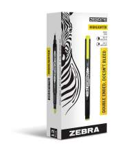 Zebra Zebrite Double-Ended Highlighter, Chisel and Fine Point, Yellow, 12 Pack