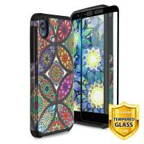 TJS Case Compatible for Motorola Moto E6, with [Full Coverage Tempered Glass Screen Protector] Dual Layer Hybrid Shockproof Drop Protection Impact Rugged Armor Case Phone Cover (Colorful Mandala)