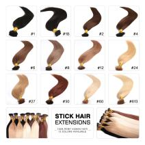Fabwigs I Tip Stick Human Hair Extensions - 18 20 22 Inch 12 Colors 50g Set - Keratin Stick Fusion Remy Human Hair Extensions (18 Inch #30 Light Auburn)
