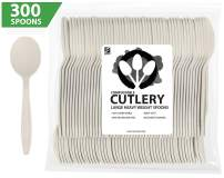 """ZenCo Biodegradable Compostable Disposable Cutlery - 300 Spoons Large 6.5"""" Ivory - Heavy Duty Heat Resistant Eco Friendly Utensils for Office, Catering, Picnics or Birthdays (300 Count, Spoon)"""