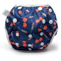 Eco-Friendly Reusable Baby Swim Diapers (Sizes N–5) – Adjustable, Easy-Wash Nageuret Reusable Swim Diaper Boys & Girls – Soft, Breathable, Waterproof Swim Wear for Baby & Newborn! (CHERRYBOMB)