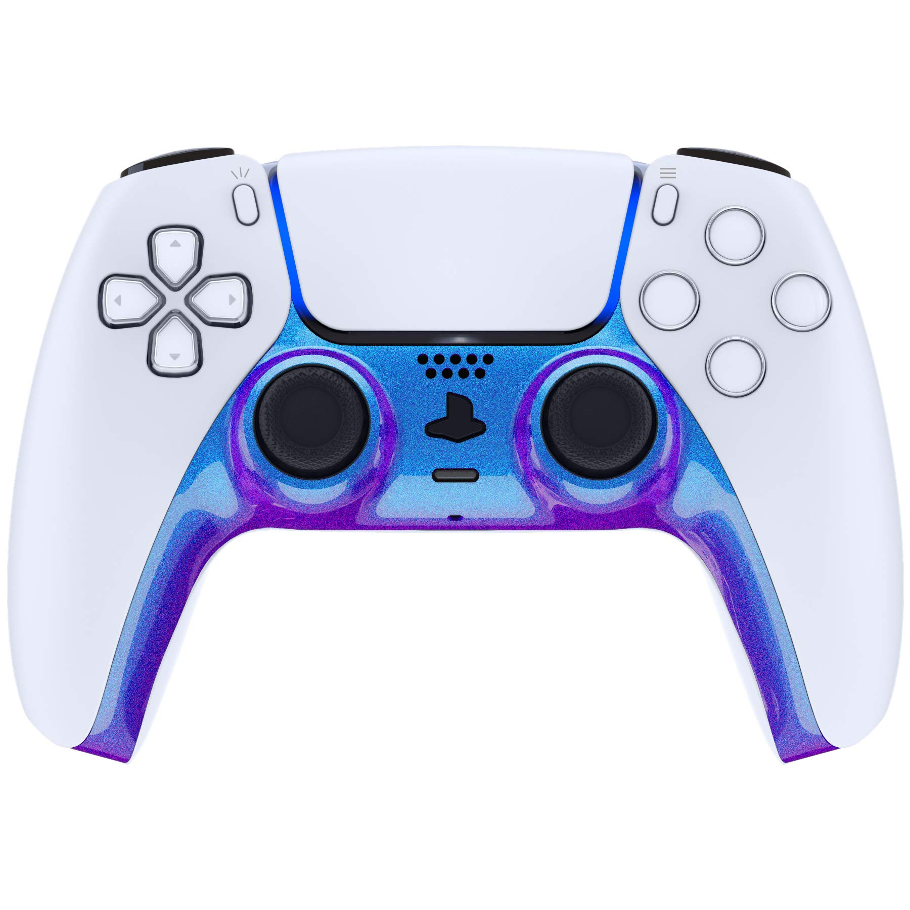 eXtremeRate Chameleon Purple Blue Decorative Trim Shell for DualSense 5 Controller, DIY Replacement Clip Shell for PS5 Controller, Custom Plates Cover for Playstation 5 Controller w/Accent Rings