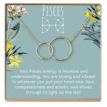 Dear Ava Pisces Zodiac Gift Necklace - Tarot Birthday, Holiday Present for Best Friends, Sister, Niece, Women, 2 Interlocking Circles