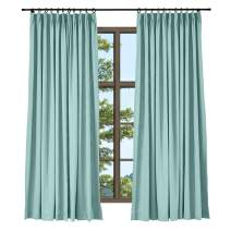 TWOPAGES Wide Width Cotton Linen Pinch Pleated Curtain, Elegant Natural Sky Blue Curtain for Living Room Window Drape (1 Panel, 120 x 84 Inches)