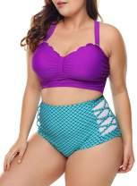 2020 Women's 2pcs Swimsuit High Waisted Ruffles Push up Halter Bikini Mermaid Costumes Set