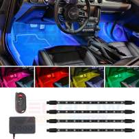 LEDGlow 4pc Million Color Multi-Color LED Interior Footwell Underdash Lighting Kit for Cars & Trucks - 18 Solid Colors - 10 Unique Patterns - Music Mode - Includes Control Box & Remote - Universal