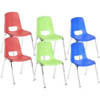 AmazonBasics 12 Inch School Classroom Stack Chair, Chrome Legs, Assorted Colors, 6-Pack