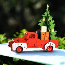 CUTPOPUP Car Christmas Tree Pop Up Card for Family, Friends- Perfect Details, Hand Assembled- Ideal Gift on Chirstmas Birthday Thanksgiving - Includes elegant envelope