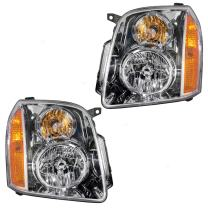 Aftermarket Replacement Driver and Passenger Set Halogen Headlights Compatible with 2007-2014 Yukon & Yukon XL 15861025 15861026