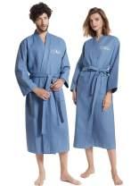 AW BRIDAL Cotton Waffle Robe His Hers & Mr Mrs Couple Spa Hotel Kimono Bathrobe