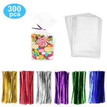 "300 Pack Clear Candy Bags Clear Cellophane Bags 4""x6"" Cookie Bags With 3.1"" Twist Ties 6 Mix Colors - 1.4mils Thickness OPP Plastic Bags for Wedding Birthday Cake Pops Gift Supplies(4""x6"")"
