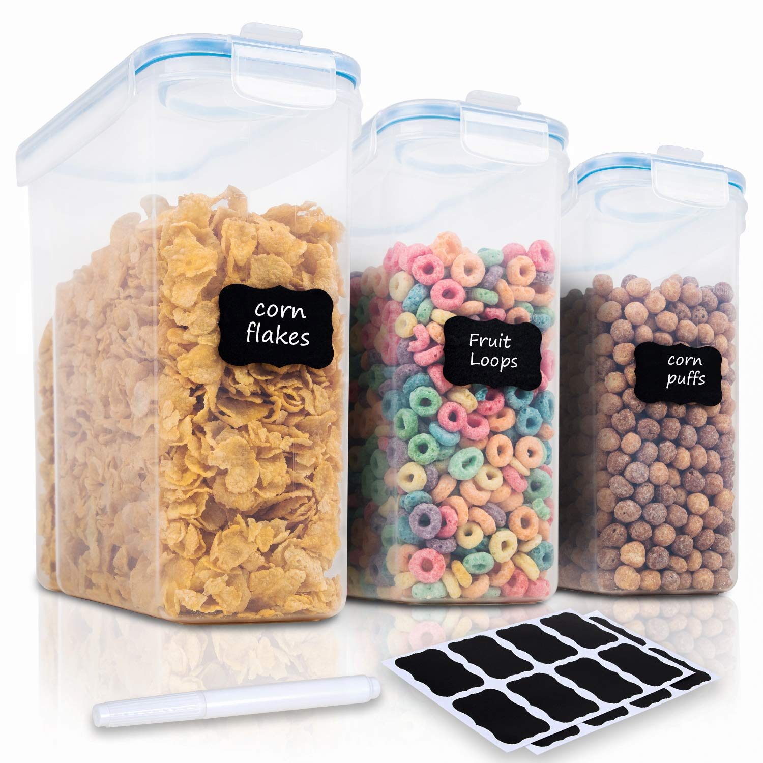 Cereal Container Set - 3 Piece Airtight Large Dry Food Storage Containers(135.2oz), BPA Free Dispenser Plastic Cereal Storage Containers with 16 Labels & Pen - FOOYOO