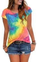 Jescakoo Womens Summer Tops Cap Sleeve Crew Neck Casual T-Shirts Tees