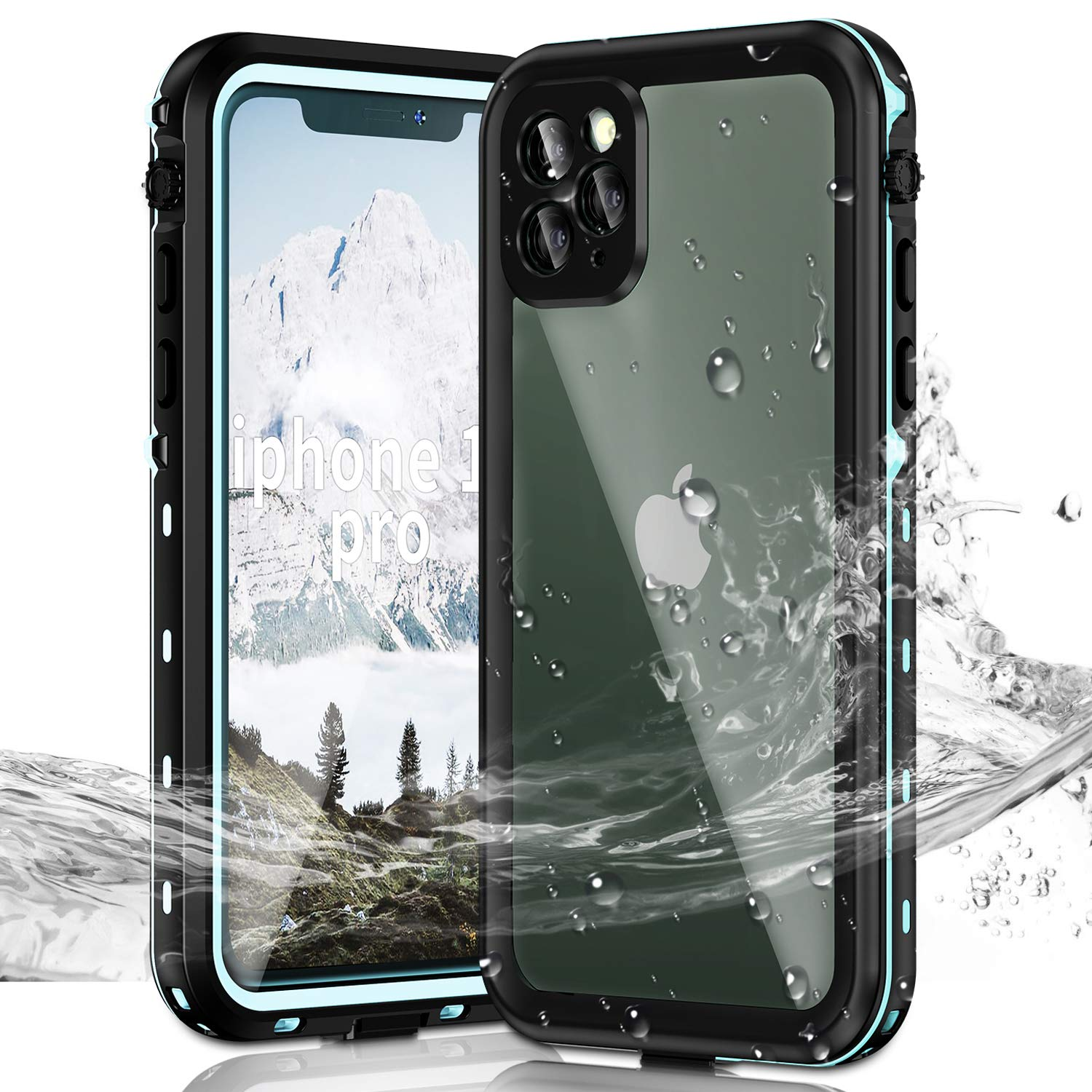 Janazan iPhone 11 Pro Waterproof Case, Full Sealed Underwater Protective Cover, Waterproof Shockproof Snowproof Dirtproof with Built-in Screen Protector for iPhone 11 Pro 5.8 inch 2019 (Blue)