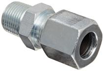 "Eaton Weatherhead Carbon Steel Flareless 7000 Series Ermeto Tube Fitting, Male Connector, 3/8"" NPT Male x 1/2"" Tube OD"