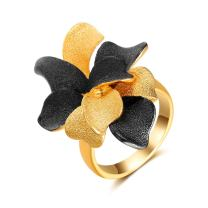Aprilery Fashion Cocktail Ring 2 Color Tone Black and Gold Mental Blooming Flowers Statement Rings for Women Girls…