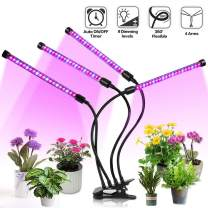 Jaycomey Grow Light for Indoor Plants,4 Head 72 LED Plant Grow Lights with Red Blue Spectrum,9 Dimmable Levels,3 9 12H Timer,Adjustable Gooseneck,3 Switch Modes