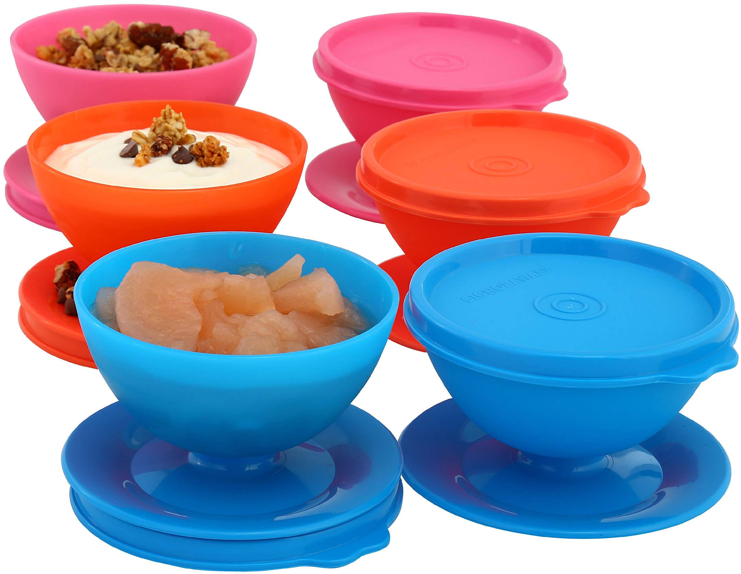 Dessert Ice Cream Cups Bowls with Lids 5 oz - Set of 6 for Desserts,Snacks, Pudding,Treats, Appetizers, portion cups mini Reusable, Plastic Containers for Parties Picnics Freezer Safe multi colors