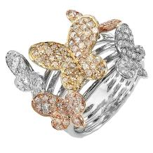 Dazzlingrock Collection 1.35 Carat (ctw) 14k Round Diamond Ladies 3 Tone Cocktail Butterfly Right Hand Ring, White Gold