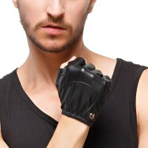 Nappaglo Men's Fingerless Leather Gloves Imported Lambskin Half Finger Driving Cycling Outdoor Shorty Thin Gloves
