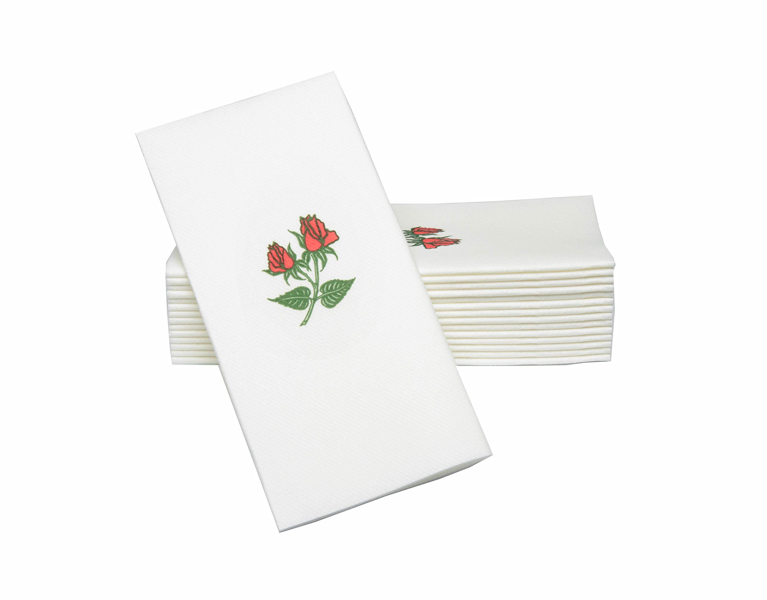 """Simulinen Dinner Napkins - Decorative Napkins - Cloth Like & Disposable Double Rose with Pocket - Elegant & Durable - Soft & Absorbent - Large 17""""x17"""" - Packaged for Easy Storage - Box of 75"""