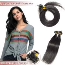 U Tip Pre Bonded Remy Human Hair Extensions 100 Strands Per Package Nail Tip Italian Keratin Fushion Hairpiece Long Straight Silky For Women #1 Jet Black 22 inches 50g